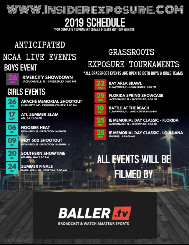 New 2019 Event Schedule